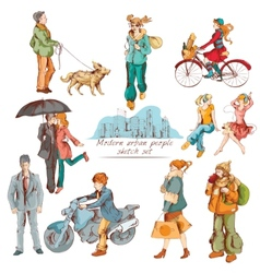Urban people sketch colored vector