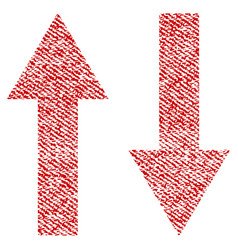 Vertical flip arrows fabric textured icon vector