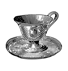 vintage engraving an ornate tea cup with plate vector image