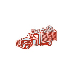 Vintage Pickup Truck Delivery Harvest Retro vector