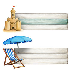 watercolor beach themed banners sand castle vector image