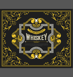 whiskey label with vintage ornaments vector image