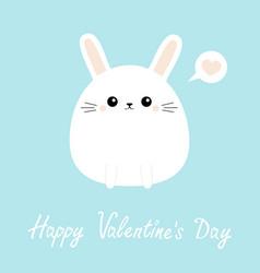 white bunny rabbit icon happy valentines day vector image