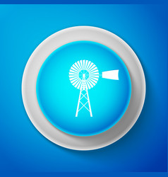 white windmill icon isolated on blue background vector image