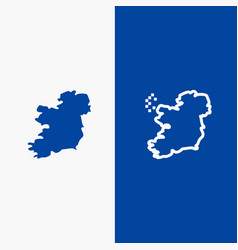 world map ireland line and glyph solid icon blue vector image
