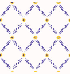 yellow and purple flower lattice seamless vector image