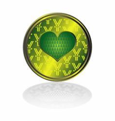 Yen in hearts vector