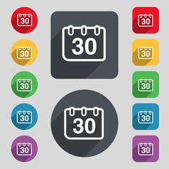 calendar icon sign A set of 12 colored buttons and vector image