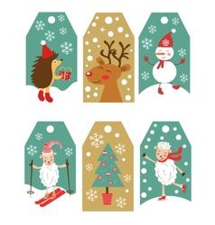 Colorful Christmas gift tags vector image vector image