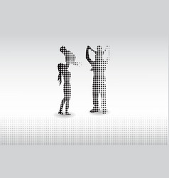 halftone dots white background happy family vector image