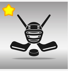 hockey black icon button logo symbol vector image
