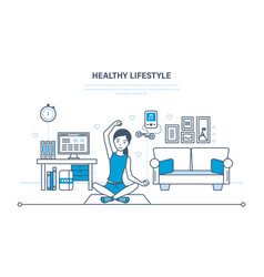 the girl is engaged in gymnastics and yoga in room vector image