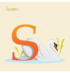 Animal alphabet with swan vector image