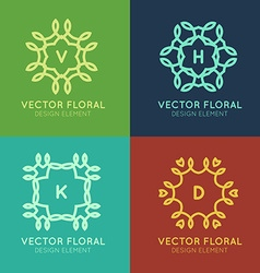 Line frames design elements vector image