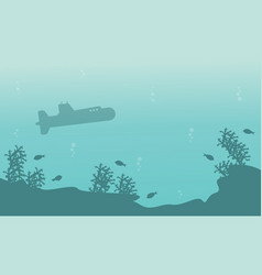 Silhouette of submarine on underwater landscape vector