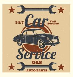 vintage car service logo - auto repair grunge vector image vector image