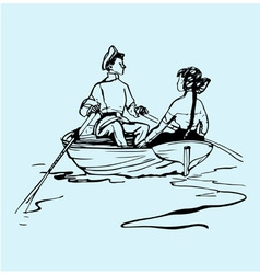 Boy and girl in the boat vector image vector image