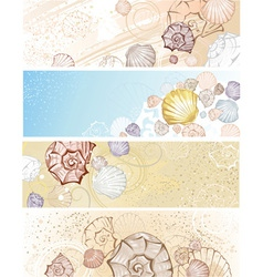 four banner with seashells vector image