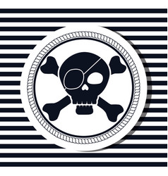 nautical frame with pirate skull vector image