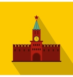 Spasskaya Tower of Moscow Kremlin icon flat style vector image