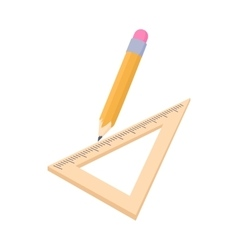 Triangular ruler and pencil icon cartoon style vector image