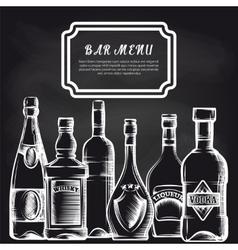 Bottles on chalkboard bar menu background vector