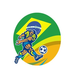 Brazil Soccer Football Player Kicking Ball Retro vector image vector image