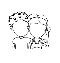 dotted shape couple lover together with hairstyle vector image vector image
