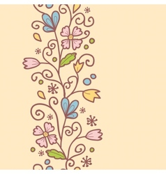Flowers and leaves vertical seamless pattern vector image
