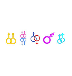 gender symbol icon set cartoon style vector image