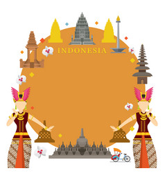 indonesia landmarks traditional dance frame vector image vector image