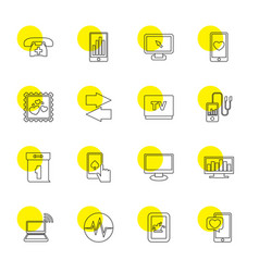 16 display icons vector image