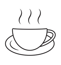A cup hot coffee cafe or caffeine drink line vector