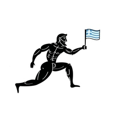 Ancient greek athletic runner with national flag vector
