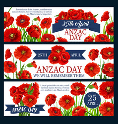 Anzac day red poppy flower festive banner design vector