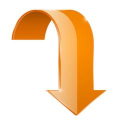 Arrow down orange web icon vector