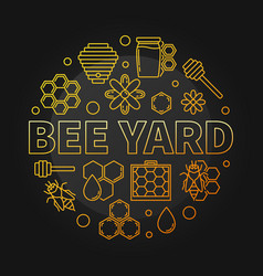 bee yard round yellow creative linear vector image