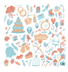 big set icons for wedding day valentines day vector image
