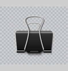 black paper clip isolated on transparent vector image