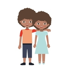 Brunette couple kids with curly hair embraced vector