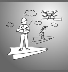 businessman on paper rocket using drone to carry vector image