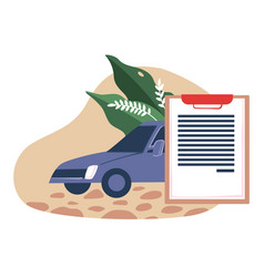 Car insurance automobile and document agreement vector