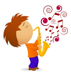 cartoon saxophonist with abstract music note vector image