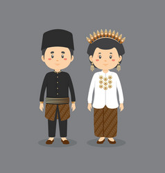 Character wearing indonesia traditional dress vector
