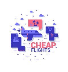 cheap flights the concept of travel flat vector image