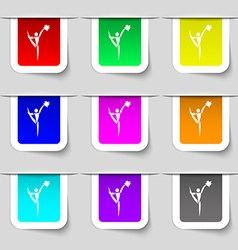 Cheerleader icon sign Set of multicolored modern vector