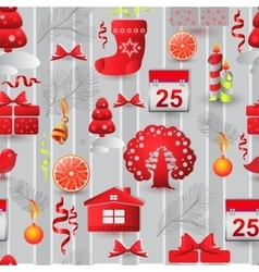 Christmas seamless pattern with tree house bird vector image