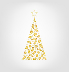 christmas tree from golden gift box and snowflake vector image