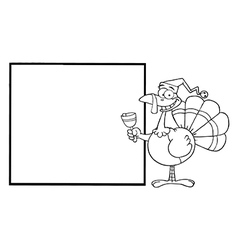 Christmas turkey cartoon vector image