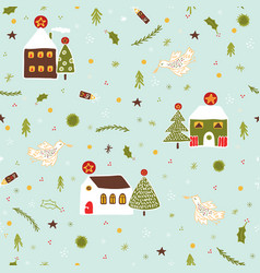 christmas village houses pattern vector image